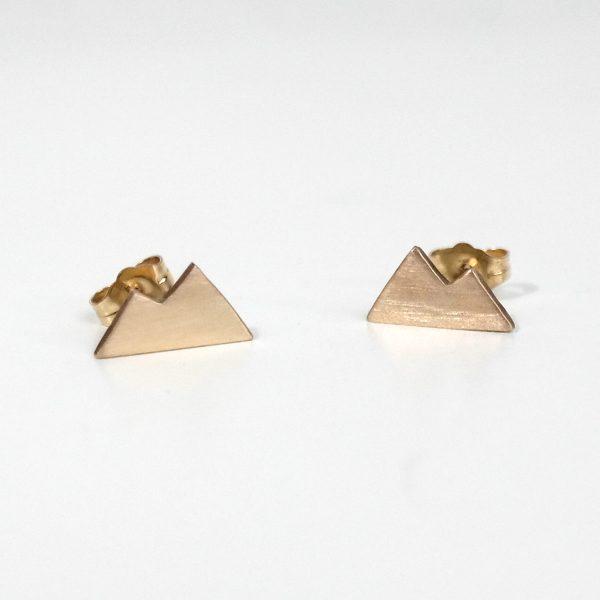 Gold Mountain Earrings, Stud Earrings
