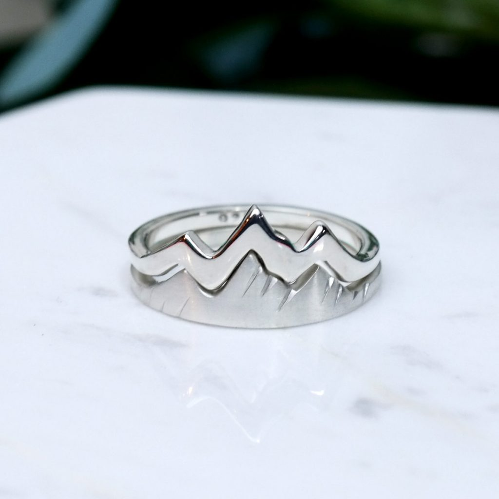 Custon stacking ring of the Jackson Hole Tetons.