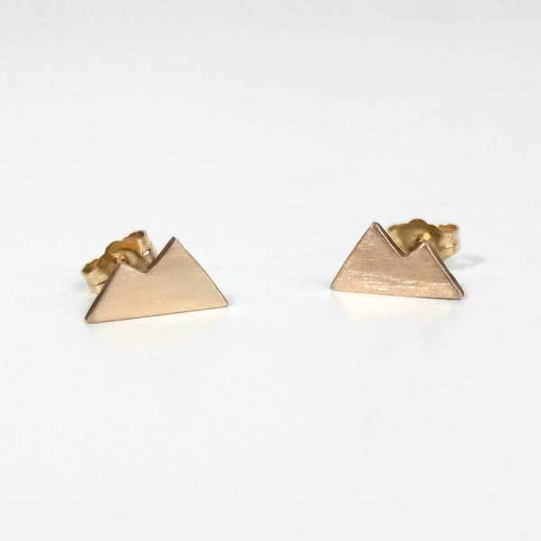 Gold Mountain Earrings, Stud Earrings