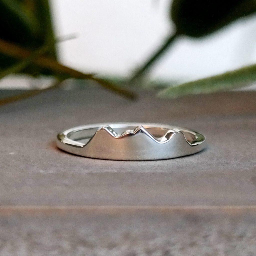 Three Sisters Peak custom ring.